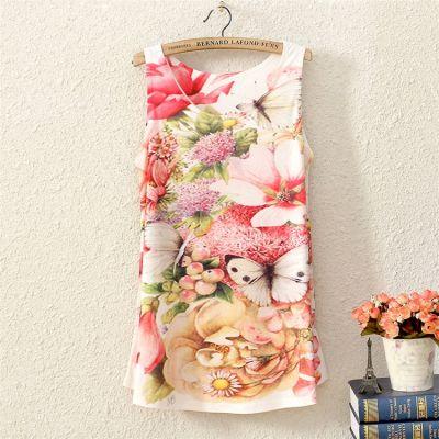 T shirt pour Femme Sans Manches Fleurs Motif Fleuri Rose Blanc