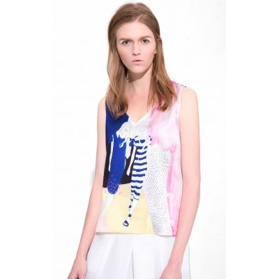 T shirt Sans Manches Débardeur pour Femme avec Motif Multicolor