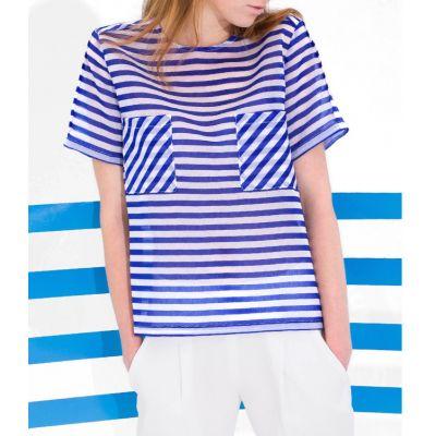 T shirt Semi Transparent pour Femme avec Rayures Poches Poitrine