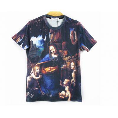 T shirt La Vierge aux Rochers Da Vinci Religion Slim Imprimé