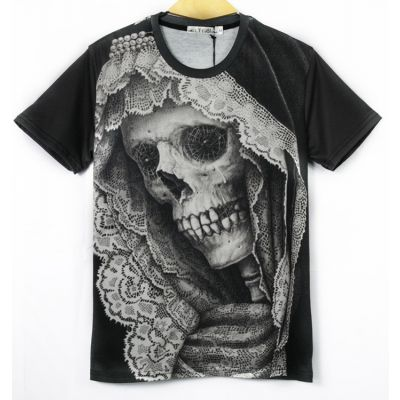 T shirt Slim Santa Muerte Squelette Nina Blanca Mexique Cartel