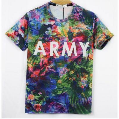 T shirt Stretch Slim Multicolor Army Imprimé à Fleurs
