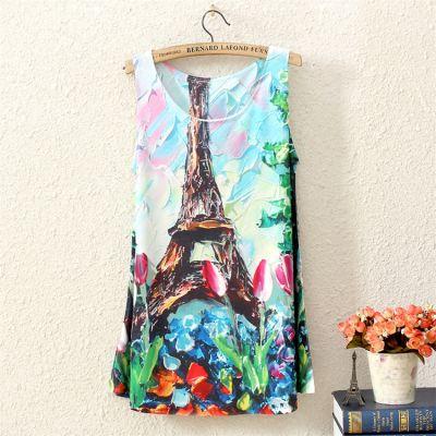 T shirt Tour Eiffel Fashion pour Femme Motif Impressioniste