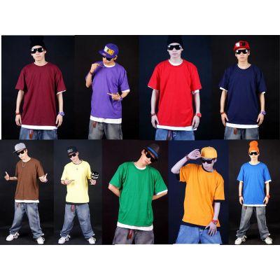 T shirt uni Large Hip Hop Couleur Solide