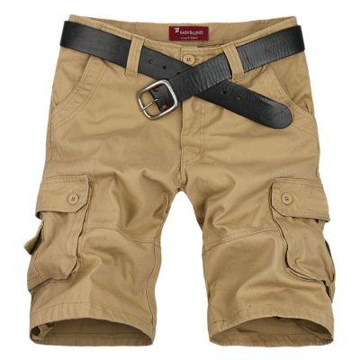 Bermuda cargo pour homme avec poches côtés en toile solide - Beige