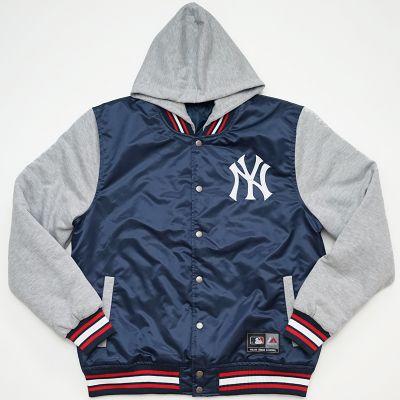 Blouson à Capuche New York Yankees Varsity Capuche Manches Gris
