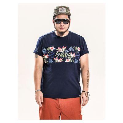 T-shirt Empiècement Fleurs Panmax Homme Grande Taille
