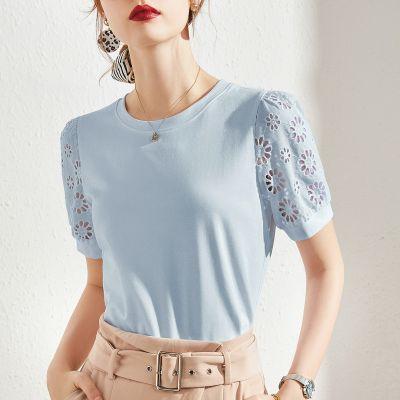 Tee-shirt femme col arrondi manches courtes fantaisie