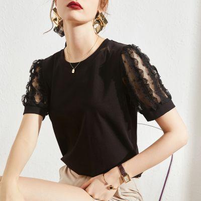 Tee-shirt femme col arrondi manches courtes volants transparents