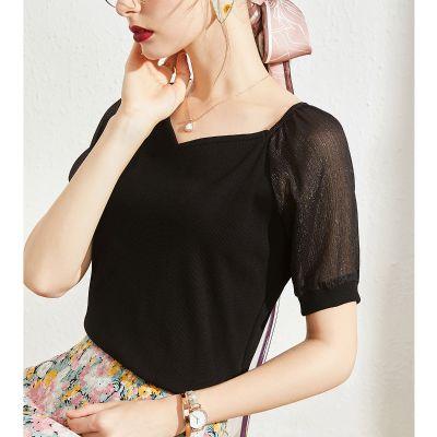 Tee-shirt femme manches courtes en crèpe