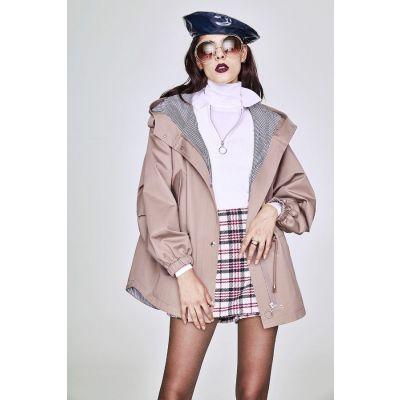 Trench-coat à capuche pour femme avec fermeture éclaire et poches