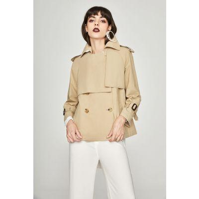 Trench-coat court pour femme avec manches longues et lanières épaules et manches