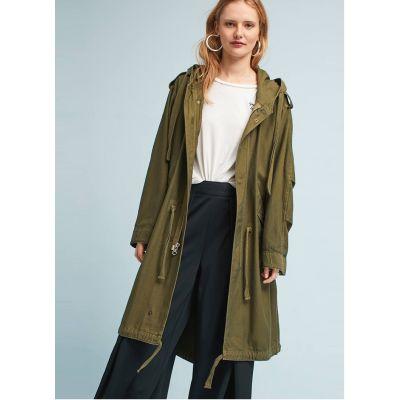 Trenchcoat en coton à capuche pour femme oversize longueur genou