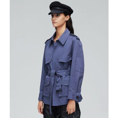 Trench-coat court en coton pour femme avec ceinture