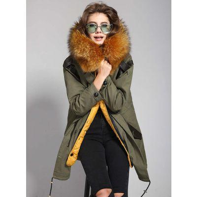 Trench coat femme à capuche fourrure avec détails cuir