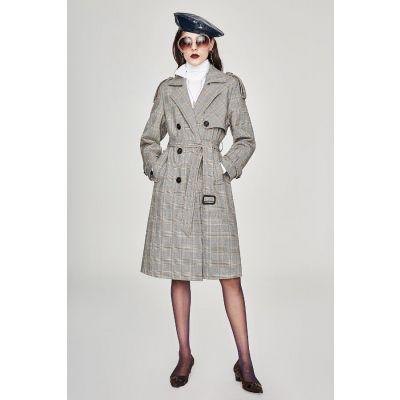Trench-coat long à carreaux vintage pour femme