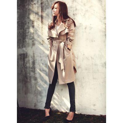 Trench coat long pour femme avec ceinture tendance