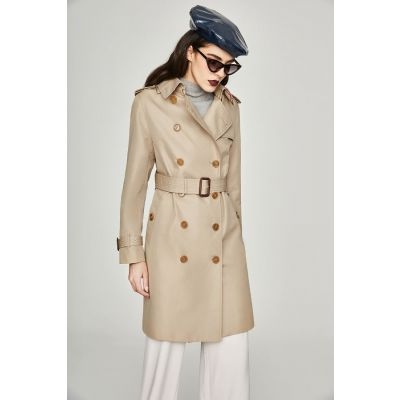 Trench-coat long pour femme avec effet brillant deux tons