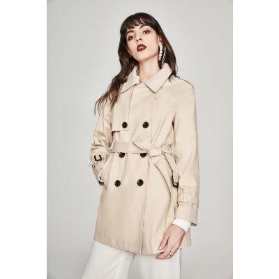 Trench-coat mi-long pour femme à double boutonnage
