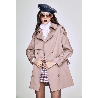 Trench-coat mi-long pour femme structuré avec lanières manches