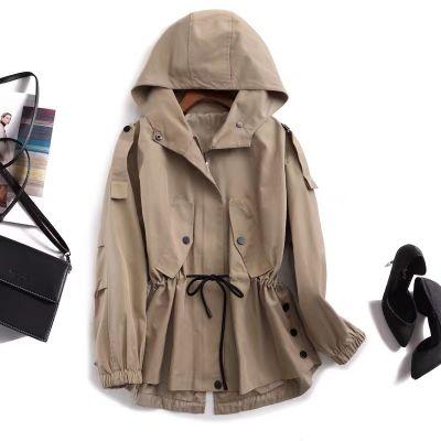 Trench-coat à capuche pour femme avec cordon de serrage à la taille