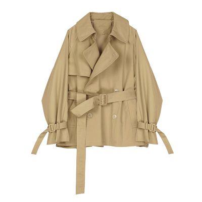 Trench-coat court croisé beige
