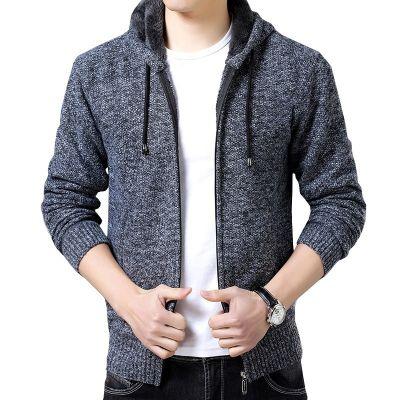 Veste à capuche pour homme avec fourrure à l'intérieur couleur unie