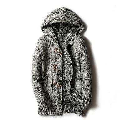Veste à capuche tricot style duffle pour homme
