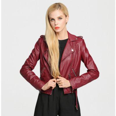 Veste perfecto en cuir pour femme rouge ou noir