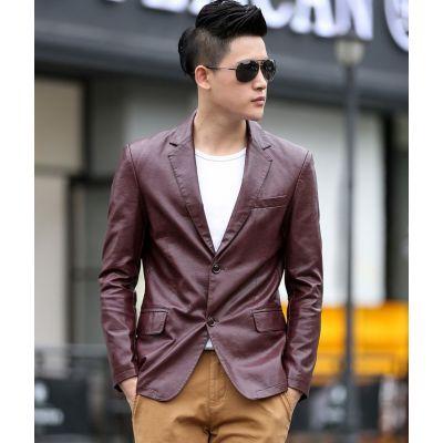 Veste blazer en cuir pour homme rouge ou noir
