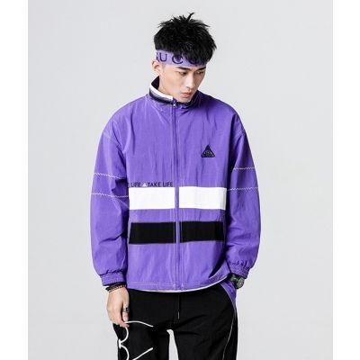 Veste coupe vent retro sport avec bandes contrastantes pour homme sportswear vintage