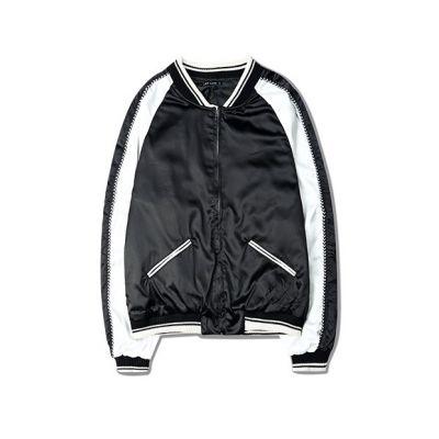 Veste Coupe Vent survêtement Satinée Bicolore Noir Blanc pour homme