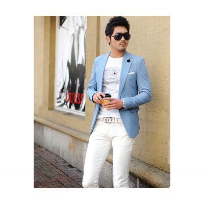Veste de Costume Bleu Ciel Blazer Cintré pour Homme 1 Bouton