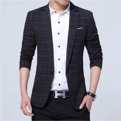 Veste de costume coupe slim à carreaux pour homme