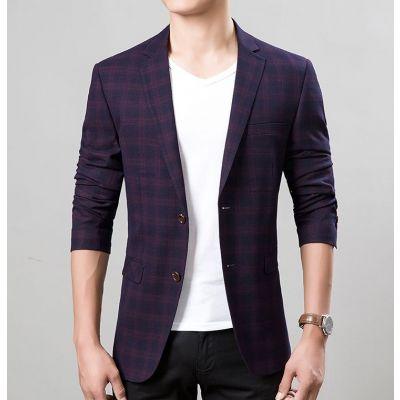 Veste de costume deux boutons avec carreaux écossais pour homme
