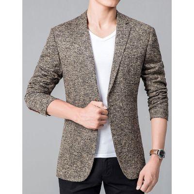 Veste de costume deux boutons texture poivre et sel contrastant