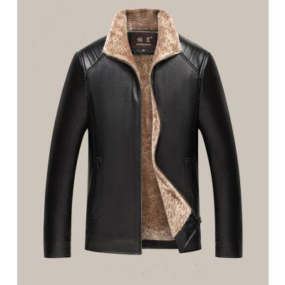 Veste en cuir intérieur fourrure pour homme col revers fourré multiples poches