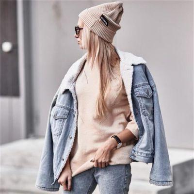 Veste en jeans pour femme avec manches longues et fourrure intérieure