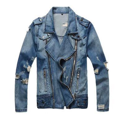 Veste en jeans bleue biker coupe perfecto