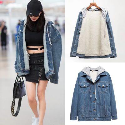 Veste en jeans délavée pour femme avec intérieur laine et capuche