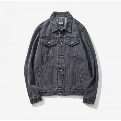 Veste en jeans délavée pour homme avec poches avant vintage
