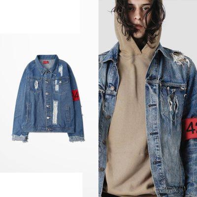 Veste en jeans distressed trouée pour homme ou femme avec bandeau rouge