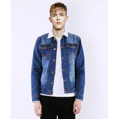 Veste en jeans pour homme avec doublure intérieure fourrure