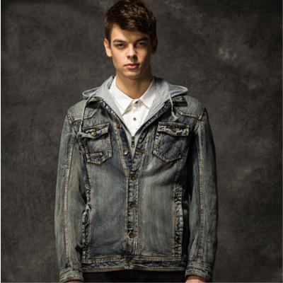 Veste en Jeans pour Homme Capuche Coton Intérieur Fourrure