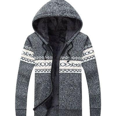 Veste en laine avec fourrure intérieure motif hiver