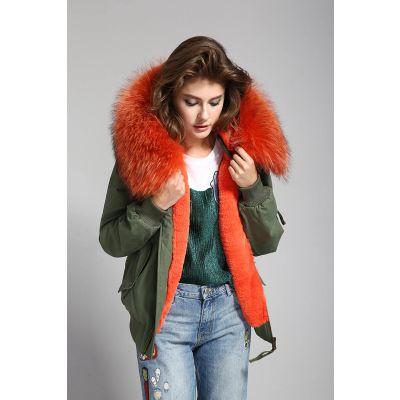 Veste hiver pour femme avec intérieur et capuche à fourrure amovible
