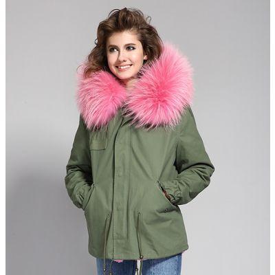Veste hiver pour femme avec interieur et capuche à fourrure amovible