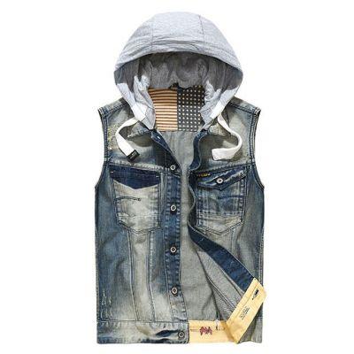 Veste en Jeans sans Manches pour Homme avec Capuche Coton
