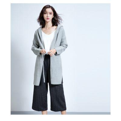 Veste longue à capuche pour femme avec ceinturon de fermeture