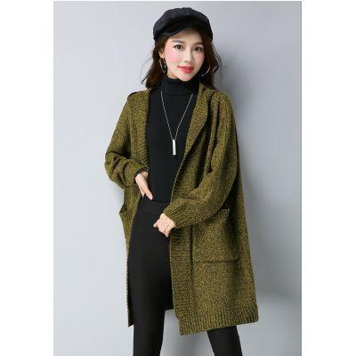 Veste longue en tricot pour femme avec grandes poches côté
